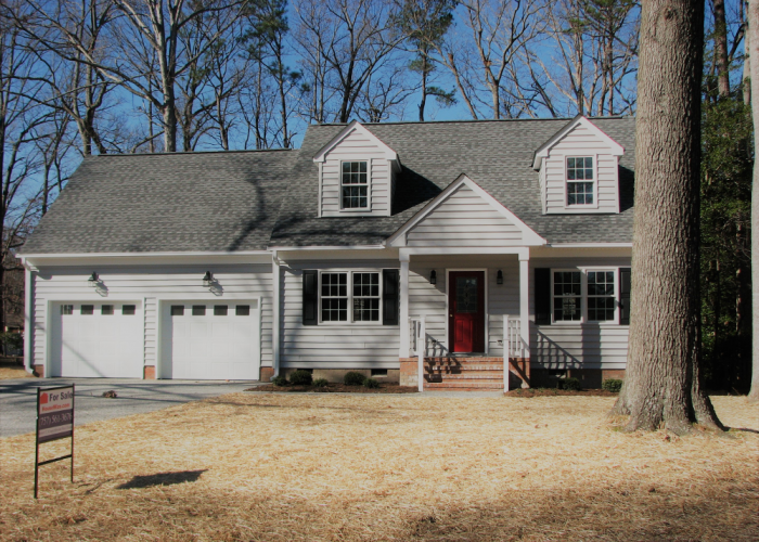2 Car Attached Garage with Gray Siding