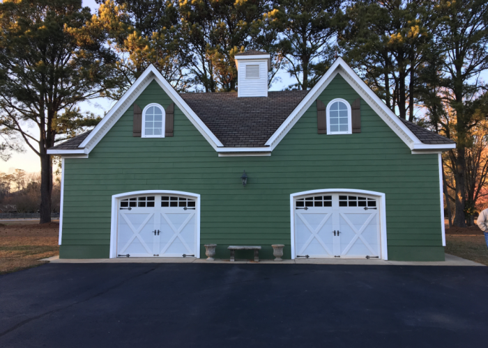 2 Car Detached Garage with Green Siding