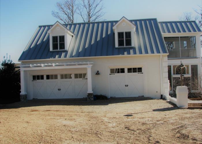 2 Car Oversize Door Garage with Tin Roof