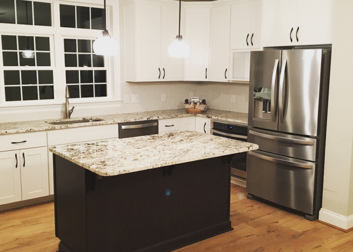 Dark Island Cabinet in Light Kitchen